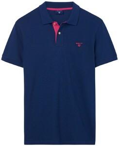 Gant Contrast Collar Piqué Donker Blauw