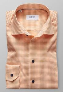 Eton Super Slim Check Poplin Licht Oranje Melange