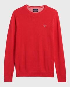 Gant Piqué Sweater Ronde Hals Watermeloen Rood