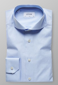 Eton Fine Twill Micro Check Licht Blauw
