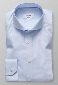Eton Super Slim Fine Twill Micro Check Licht Blauw