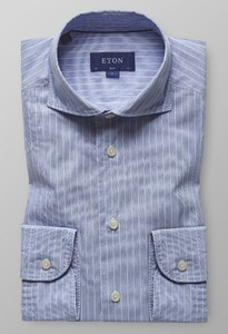 Eton Slim Fine Line Extreme Cutaway Pastel Blauw