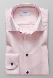 Eton Contrast Button Check Roze