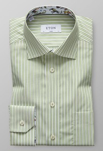 Eton Striped Contrast Detail Groen