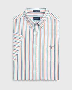 Gant The Broadcloth 3 Color Stripe Short Sleeve Coral Orange