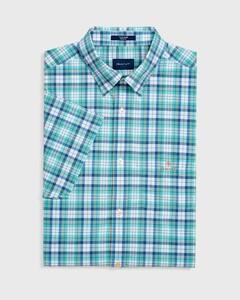 Gant Tech Broadcloth Check Short Sleeve Pool Green