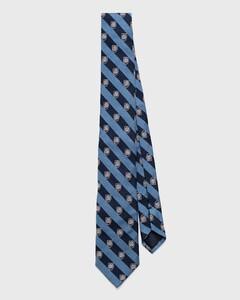 Gant Monogram Striped Tie Midden Blauw Melange