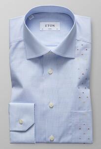Eton Classic Mini Check Contrast Licht Blauw
