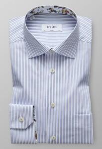 Eton Striped Contrast Detail Licht Blauw