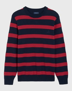 Gant Knitted Striped Crew Rood