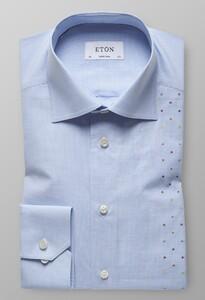 Eton Super Slim Mini Check Contrast Licht Blauw