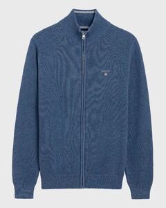Gant Cotton Piqué Zipper Vest Denim Blue