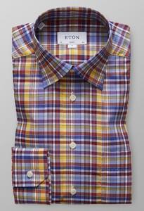 Eton Button Under Check Multicolor