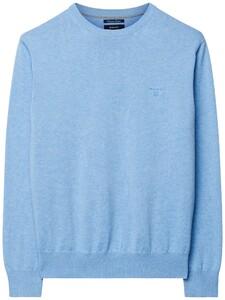 Gant Lightweight Cotton Round-Neck Light Blue Melange