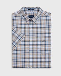 Gant Tech Broadcloth Check Short Sleeve Zand