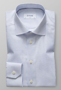 Eton Slim Micro Pattern Cutaway Diep Blauw