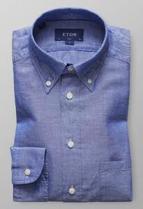 Eton Slim Cotton & Hemp Midden Blauw Melange