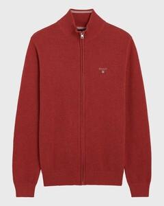 Gant Cotton Piqué Zipper Vest Donker Rood Melange