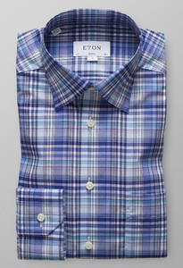 Eton Button Under Check Diep Blauw