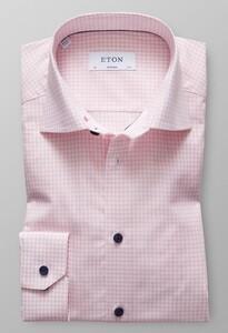 Eton Super Slim Check Poplin Roze