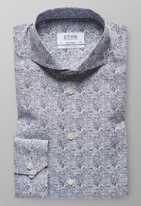 Eton Paisley Extra Long Sleeve Navy
