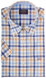 Paul & Shark Fine Contrasted Color Check Blauw-Khaki