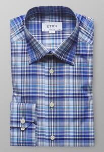Eton Super Slim Fine Twill Check Diep Blauw