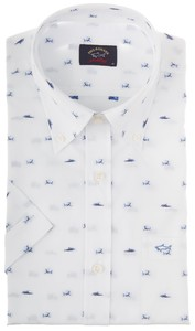 Paul & Shark Sharked Shark Shirt Wit-Blauw