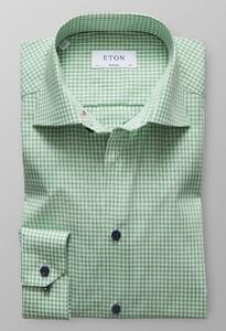 Eton Super Slim Check Poplin Groen