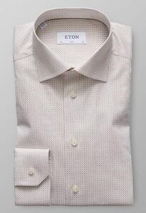 Eton Slim Micro Pattern Cutaway Diep Bruin