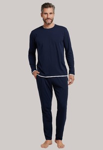 Schiesser Lights on Blue Uni Striped Pyjama Donker Blauw