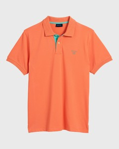 Gant Contrast Collar Piqué Coral Orange