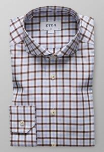 Eton Overcheck Shirt Diep Bruin