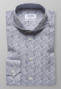 Eton Slim Paisley Extra Long Sleeve Navy