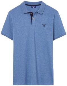 Gant Contrast Collar Piqué Denim Blue
